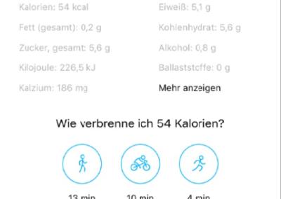 Nährwerttabelle Battaglia PT Fitness app